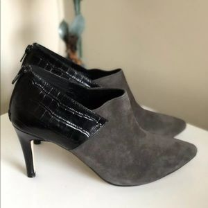 Zizi Florsheim Ankle Boots Grey Suede Pointed Toe